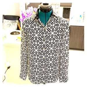 Relaxed Polyester Button-Up Work Blouse